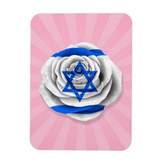 Israeli Rose Flag on Pink Vinyl Magnets