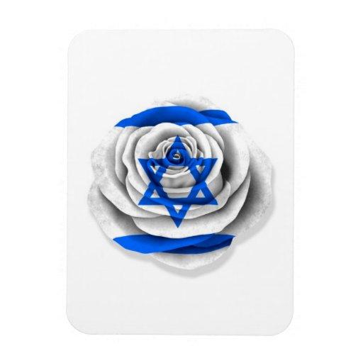 Israeli Rose Flag on White Rectangle Magnet