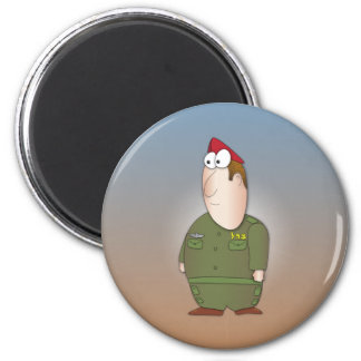 Israeli sodier - cool cartoon character 6 cm round magnet
