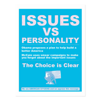 Issues vs Personality Postcard