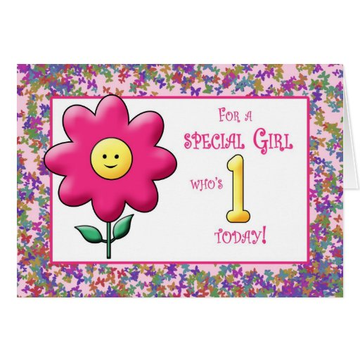 Ist Birthday cute Pink Flower and Smiley Greeting Card