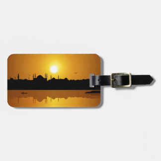 Istanbul and sunset luggage tag