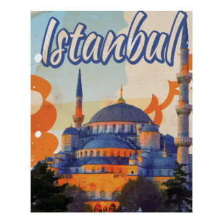 Istanbul Aya Sophia Mosque vintage travel poster