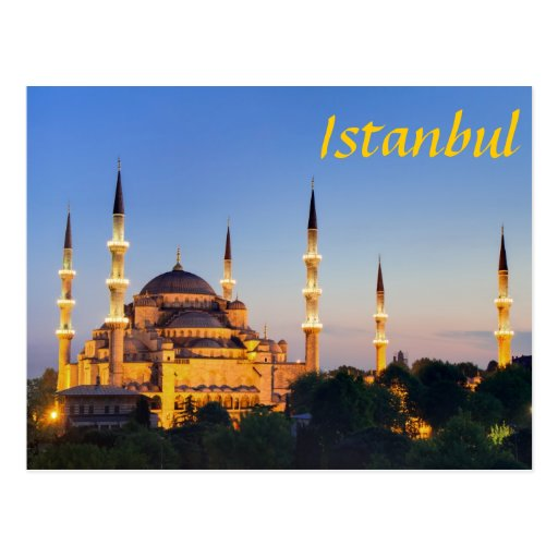 Istanbul - Blue Mosque RK twilight Postcard