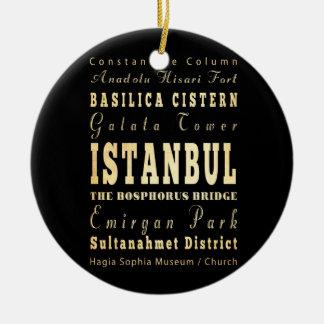 Istanbul City of Turkey Typography Art Christmas Ornament
