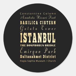 Istanbul City of Turkey Typography Art Classic Round Sticker
