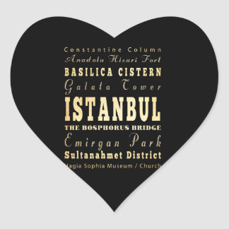 Istanbul City of Turkey Typography Art Heart Sticker