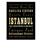 Istanbul City of Turkey Typography Art Postcard