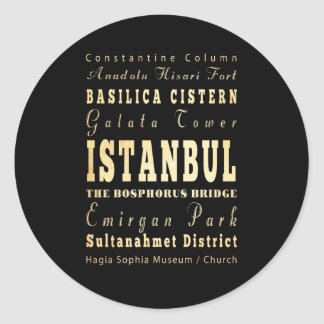 Istanbul City of Turkey Typography Art Round Sticker