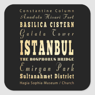 Istanbul City of Turkey Typography Art Square Sticker