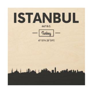 Istanbul, Turkey | City Coordinates Wood Print