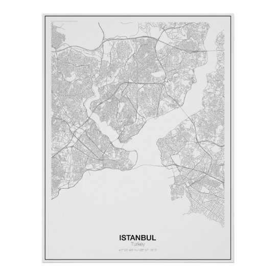 Istanbul, Turkey Minimalist Map Poster (Style 2)