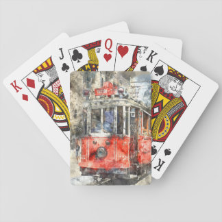 Istanbul Turkey Red Trolley Playing Cards
