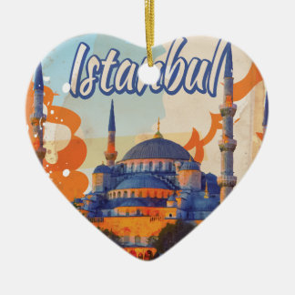 Istanbul Vintage Travel Poster Christmas Ornament