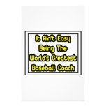 It Aint' Easy...World's Greatest Baseball Coach Customized Stationery