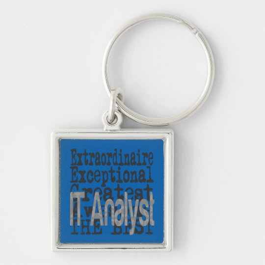 IT Analyst Extraordinaire Silver-Colored Square Key Ring