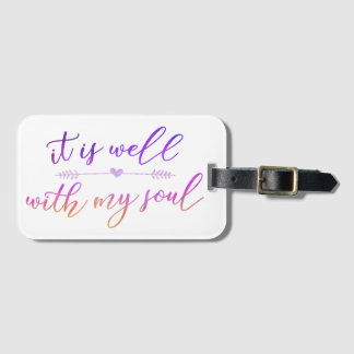 """""""it is well with my soul"""" luggage tag w/ card slot"""