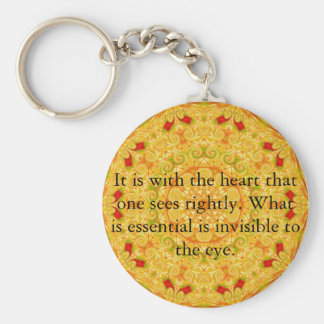 It is with the heart that one sees rightly...... basic round button key ring
