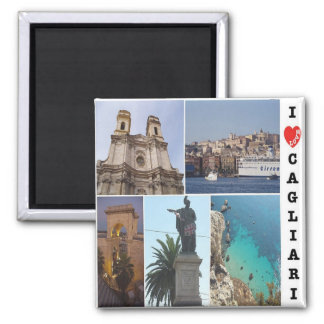 IT - Italy - Cagliari - I Love - Collage Mosaic Square Magnet