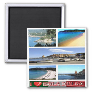 IT - Italy - Elba - I Love - Collage Mosaic Square Magnet