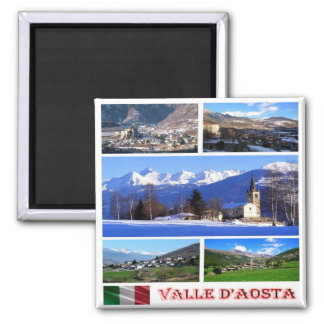 IT - Italy I Love Valle d'Aosta - Collage Mosaic Square Magnet