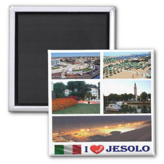 IT - Italy - Jesolo - i Love - Collage Mosaic Square Magnet