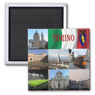 IT - Italy - Turin - Collage Mosaic Square Magnet