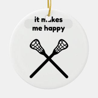 It Makes Makes Me Happy-Lacrosse Christmas Ornament