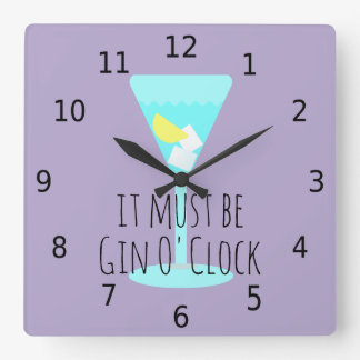 It must be gin o' clock, with numbers square wall clock