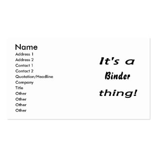 It s a binder thing business card template