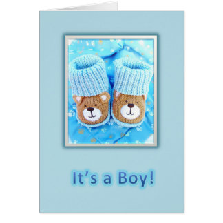 It s a boy Bear booties Greeting Cards