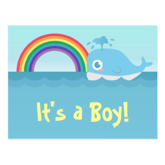 It s a Boy - Cute Baby Blue Whale with Rainbow Post Card