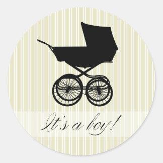 It s a Boy Green Baby Buggy Sticker