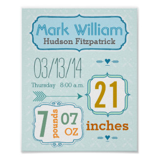 It s A Boy New Baby Stats Cute Arrow Poster