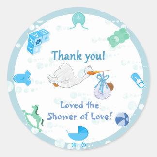 It's a Boy – Personalized Baby Shower Round Sticker