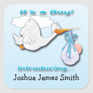 It s a Boy Stork Birth Announcement envelope seal Stickers
