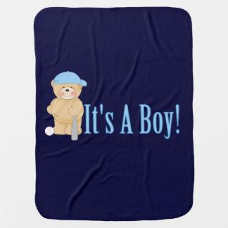 It s a Boy Teddy Bear Swaddle Blanket