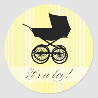 It s a Boy Yellow Baby Buggy Sticker