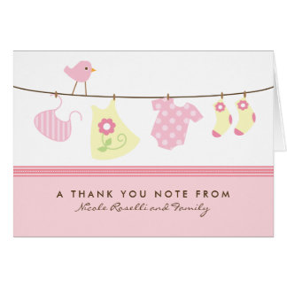 It s a Girl Baby Laundry Thank You Card pink