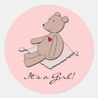 It s a Girl Bear Envelope Seal Round Sticker