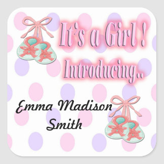 It s a Girl Booties Birth Announcement seal Square Sticker