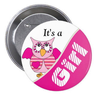 It s A Girl Button Pin