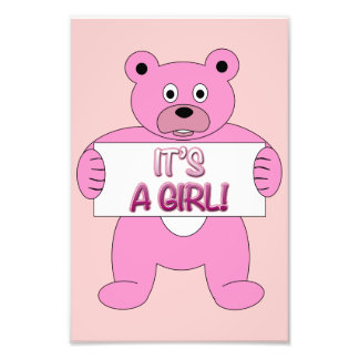 It s A Girl Pink Bear Photo Print