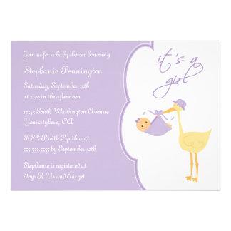 It s a girl purple stork baby shower invitation