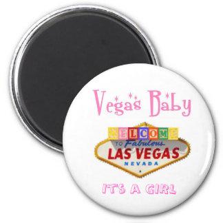 It s a GIRL Vegas Baby Magnet Announcement