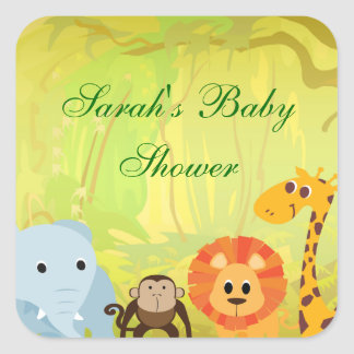It s A Jungle Baby Shower Square Sticker