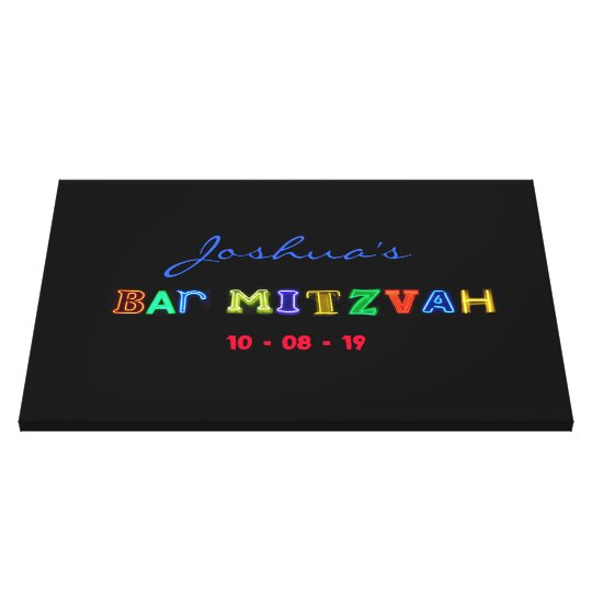 "IT""S ELECTRIC Bar Mitzvah Memory Sign-In Board Canvas"