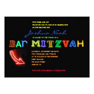 IT S ELECTRIC NEON SIGN Bar Mitzvah Invitation
