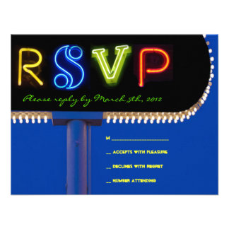 IT S ELECTRIC NEON SIGN Bar Mitzvah Reply Card Announcements