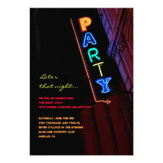 IT S ELECTRIC NEON SIGN Bar Mitzvah Reply Card Personalized Invitation